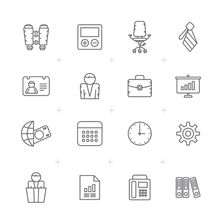 Line Business, Office and finance icons - vector icon set Stock Illustratie