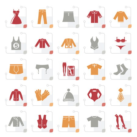 Stylized Clothing and Fashion collection icons - vector icon set Illustration