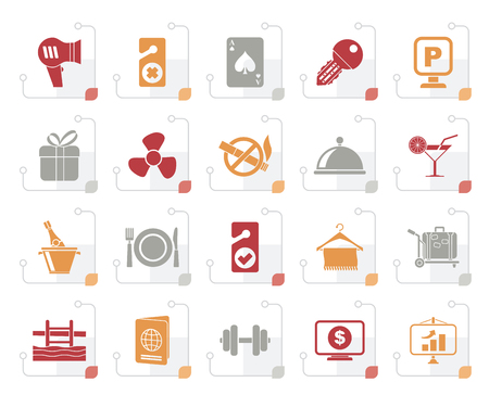 Stylized Hotel and motel services icons 2- vector icon set