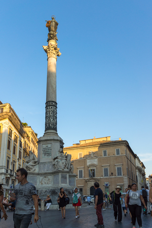 ROME, ITALY - JUNE 23, 2017: Sunset view of Column of the Immaculate near Spanish Steps and Piazza di Spagna in city of Rome, Italy