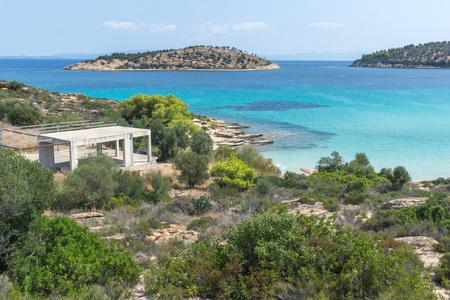 Sithonia 반도, Chalkidiki, 중앙 마케도니아, 그리스에서 Lagonisi 해변의 바다