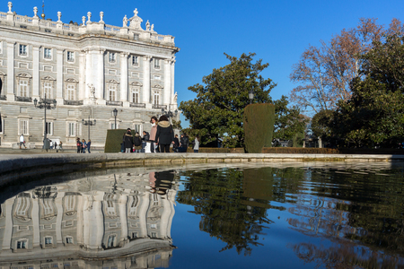 MADRID, SPAIN - JANUARY 22, 2018:  Beautiful view of the facade of the Royal Palace of Madrid, Spain