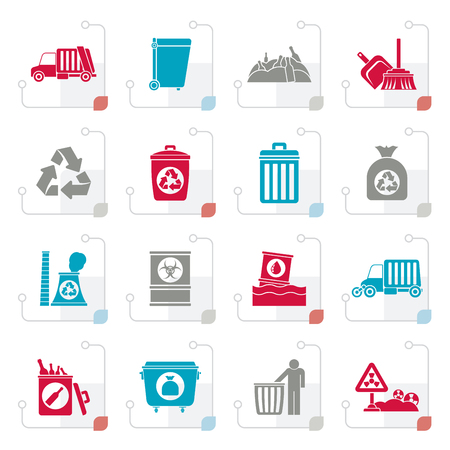 Stylized Garbage, cleaning and rubbish icons - vector icon set Illustration