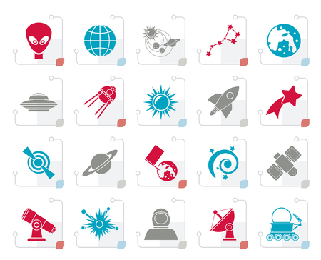 Stylized astronomy and space icons  - vector icon set  イラスト・ベクター素材