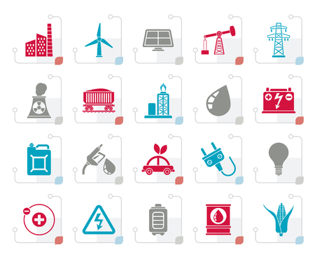 Stylized Power, energy and electricity Source icons - vector icon set