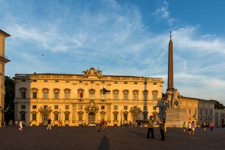 ROME, ITALY - JUNE 24, 2017: Sunset view of Obelisk and Palazzo della Consulta at Piazza del Quirinale in Rome, Italy