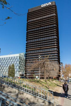 MADRID, SPAIN - JANUARY 21, 2018:  Business buildings at Paseo de la Castellana street in City of Madrid, Spain Editorial