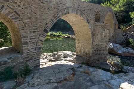 Amazing Reflection of Devil's Bridge in Arda river and Rhodopes mountain, Kardzhali Region, Bulgaria Archivio Fotografico