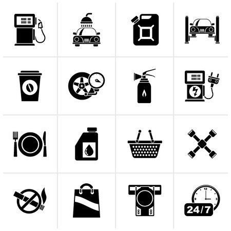 Black Gas Station Services Icons  - vector icon set Illustration