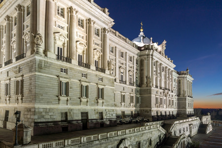 MADRID, SPAIN - JANUARY 22, 2018: Night view of the facade of the Royal Palace of Madrid, Spain