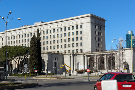MADRID, SPAIN - JANUARY 21, 2018:  Building of Ministry of Employment and Social Security in City of Madrid, Spain Editorial