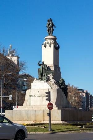 MADRID, SPAIN - JANUARY 21, 2018: Buildings at Paseo de la Castellana street in City of Madrid, Spain