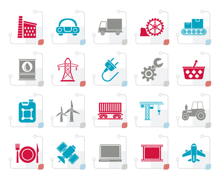Stylized Business and industry icons vector icon set Illustration