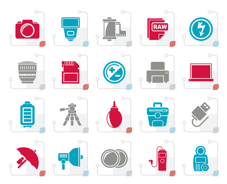 Stylized Camera equipment and photography icons  Vector Icon Set