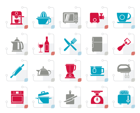 Stylized Kitchenware objects and equipment icons  vector icon set Illustration