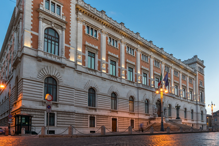 ROME, ITALY - JUNE 23, 2017: Amazing Sunset view of building of Banco di Napoli in city of Rome, Italy