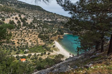 Panoramic view of Livadi beach, Thassos island, East Macedonia and Thrace, Greece