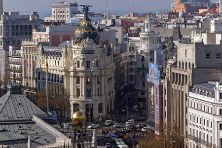 MADRID, SPAIN - JANUARY 24, 2018:  Panoramic view of city of Madrid from Cybele Palace (Palacio de Cibeles), Spain