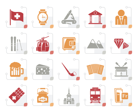 Stylized Switzerland industry and culture icons - vector icon set illustration.