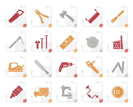 Stylized carpentry, logging and woodworking icons - vector icon set illustration.