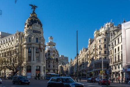 MADRID, SPAIN - JANUARY 21, 2018: Metropolis Building ( Edificio Metropolis  ) at Alcala and Gran Via streets in City of Madrid, Spain