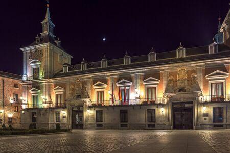 MADRID, SPAIN - JANUARY 21, 2018: Night photo of Plaza de la Villa in City of Madrid, Spain