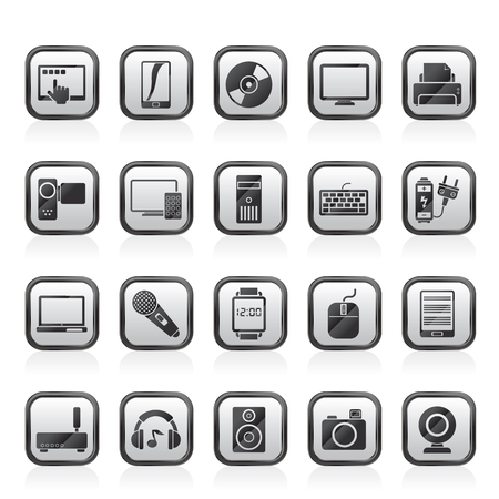 Home electronics and personal multimedia devices icons vector set