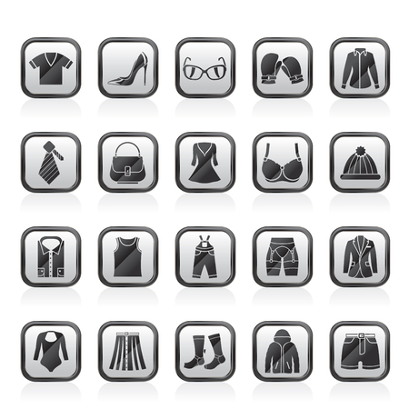 Fashion and clothing and accessories icons vector set
