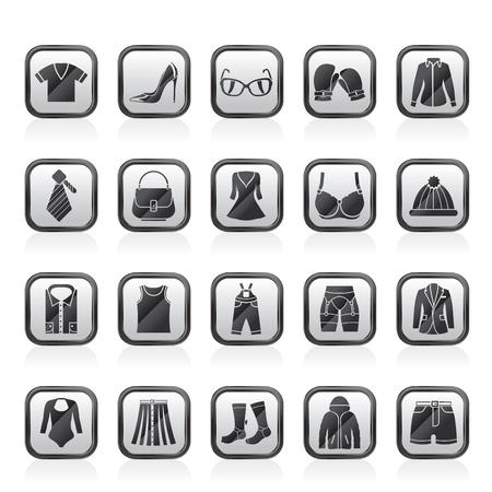 Mode- und Kleidungs- und Zubehörikonen-Vektorsatz Vektorgrafik