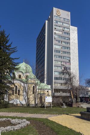 PERNIK, BULGARIA - MARCH 12, 2014:  Panoramic view of center of city of Pernik, Bulgaria