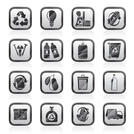 Garbage and Recycling Icons - vector icon set  イラスト・ベクター素材