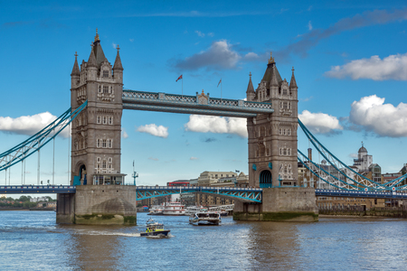 LONDON, ENGLAND - JUNE 15, 2016: Sunset view of Tower Bridge in London, England, Great Britain