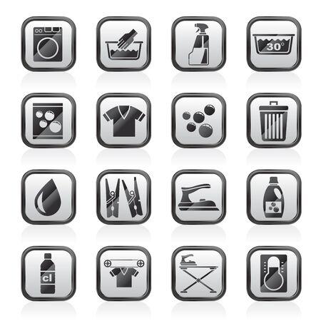 Waschmaschine und Wäsche Icons Vektor-Symbol Set