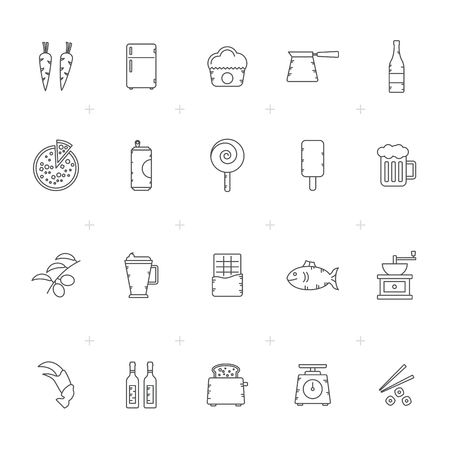 Food, Drink and kitchen equipment icons - vector icon set.