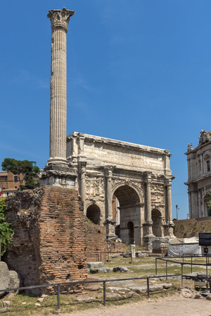 ROME, ITALY - JUNE 24, 2017: Capitoline Hill, Septimius Severus Arch at Roman Forum in city of Rome, Italy