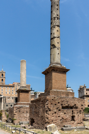 ROME, ITALY - JUNE 24, 2017: Column of Phocas at Roman Forum in city of Rome, Italy Reklamní fotografie - 122736514