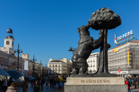 MADRID, SPAIN - JANUARY 22, 2018:  Statue of the Bear and the Strawberry Tree at Puerta del Sol in Madrid, Spain Editorial