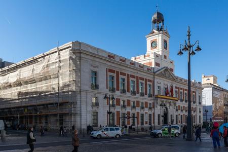MADRID, SPAIN - JANUARY 22, 2018: Royal Post Office at Puerta del Sol in Madrid, Spain