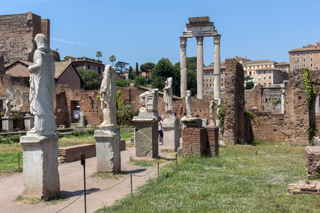 ROME, ITALY - JUNE 24, 2017: Amazing view of Temple of Vesta at Roman Forum in city of Rome, Italy Editöryel