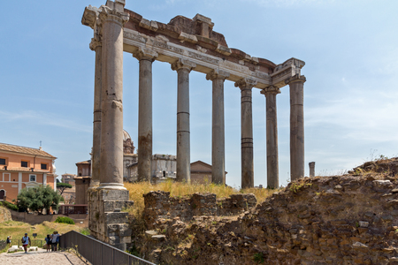 ROME, ITALY - JUNE 24, 2017: Capitoline Hill, Temple of Saturn and Capitoline Hill in city of Rome, Italy
