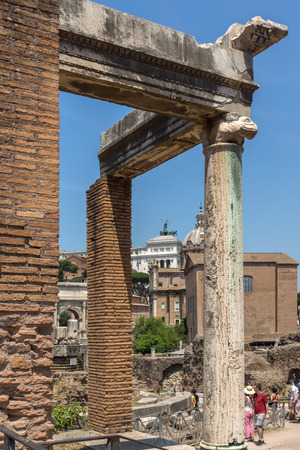 ROME, ITALY - JUNE 24, 2017: Ruins of Roman Forum and Capitoline Hill in city of Rome, Italy