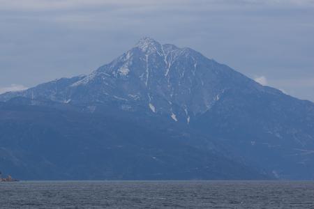 Amazing Landscape of Mount Athos at Autonomous Monastic State of the Holy Mountain, Chalkidiki, Greece Stock Photo - 100746725