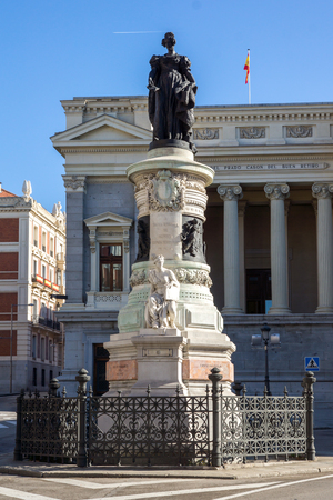 MADRID, SPAIN - JANUARY 22, 2018: Maria Cristina de Borbon Statue in front of Museum of the Prado in City of Madrid, Spain Editorial