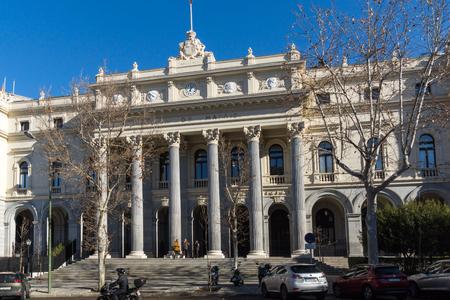 MADRID, SPAIN - JANUARY 22, 2018: Building of Stock Exchange in City of Madrid, Spain