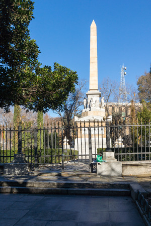 MADRID, SPAIN - JANUARY 22, 2018: Monument to Fallen Heroes in City of Madrid, Spain
