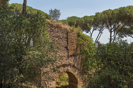 ROME, ITALY - JUNE 24, 2017: Panoramic view of ruins in Palatine Hill in city of Rome, Italy Editöryel