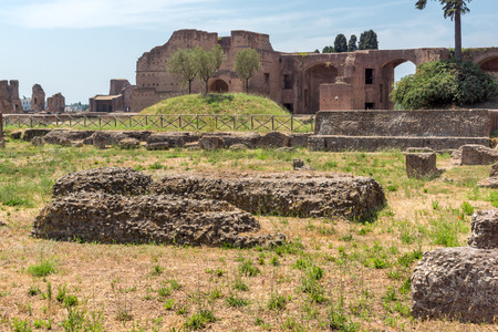 ROME, ITALY - JUNE 24, 2017: Panoramic view of ruins in Palatine Hill in city of Rome, Italy Editorial