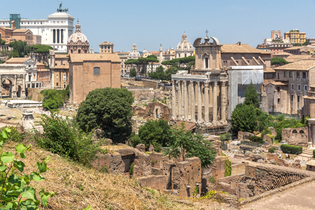 ROME, ITALY - JUNE 24, 2017: Panoramic view from Palatine Hill to ruins of Roman Forum in city of Rome, Italy