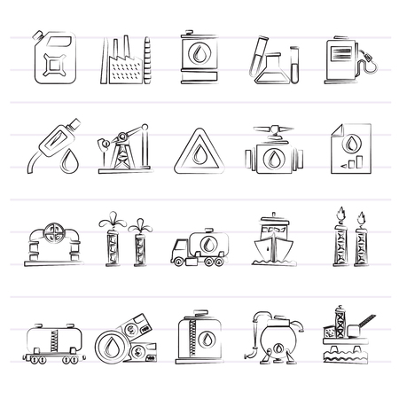 Set of oil and petrol industry icons.