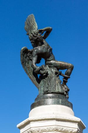 MADRID, SPAIN - JANUARY 22, 2018: Fountain of the Fallen Angel in The Retiro Park in City of Madrid, Spain 報道画像